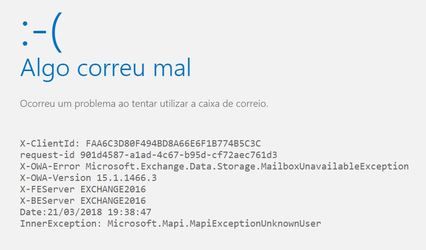 X-OWA-Error Microsoft.Exchange.Data.Storage.MailboxUnavailableException