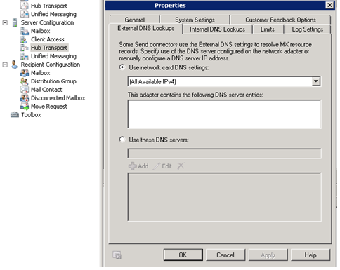 External DNS Lookup Exchange Server 2010
