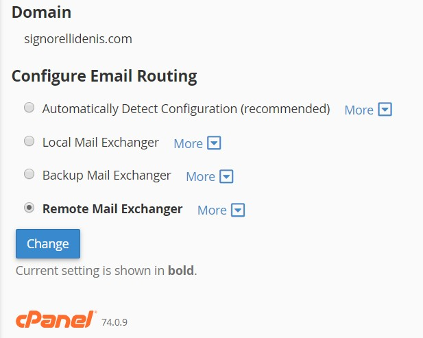 CPANEL Configure Email Routing