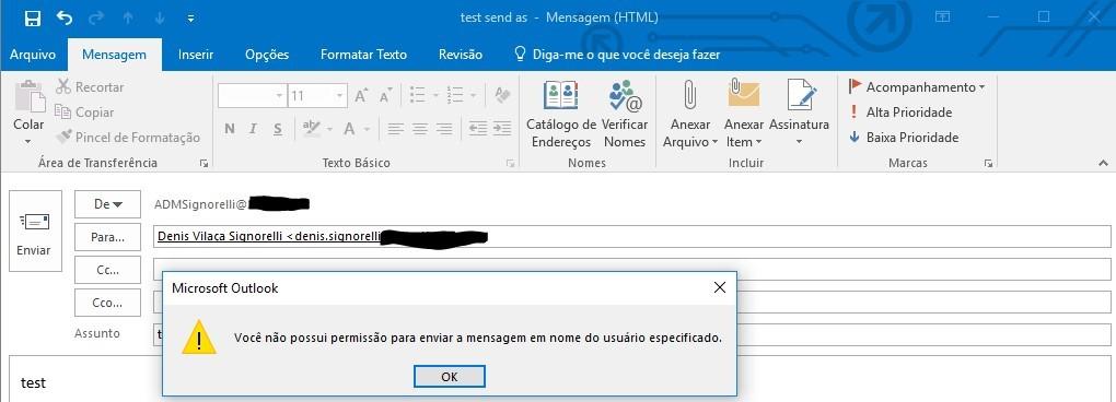 Send On behalf Outlook Online Mode